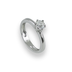 Inel Solitaire din Aur alb - diamante 0.50 ct - model Corona