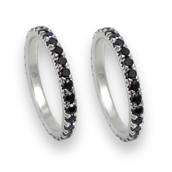 wedding rings - white gold with black and white diamonds - model Daring