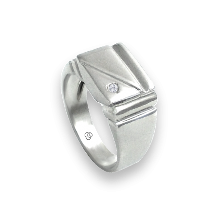 Men ring in white gold with white diamond - model Dia2